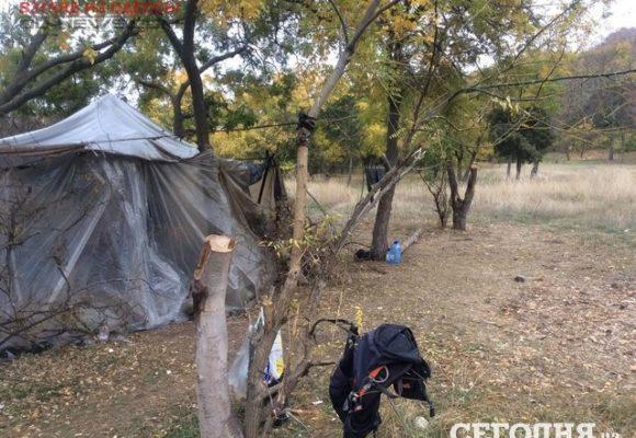 В Одессе женщина жила в самодельном шалаше с больным ребенком